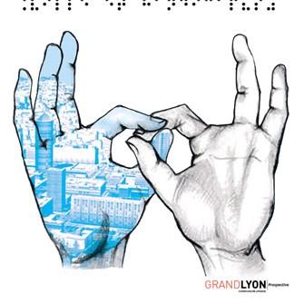 Illustration représentant deux mains aux doigts entremêlés. Sur l'une de ses mains est dessinée une ville en nuances de bleu