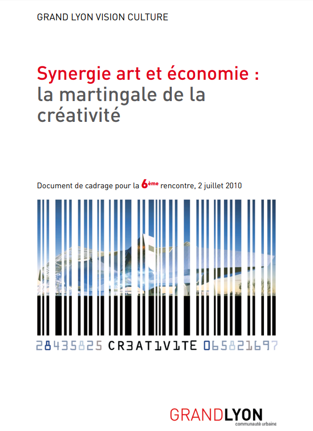 """Couverture de l'étude """"Synergie art et économie : la martingale de la créativité"""""""
