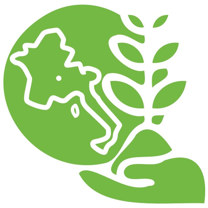Illustration d'un terre et d'une plante posées dans une main