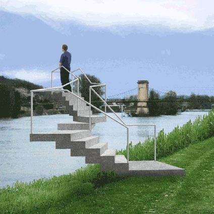 Image d'une oeuvre d'art, escalier ne menant à rien, sur lequel est monté un individu, Lyon