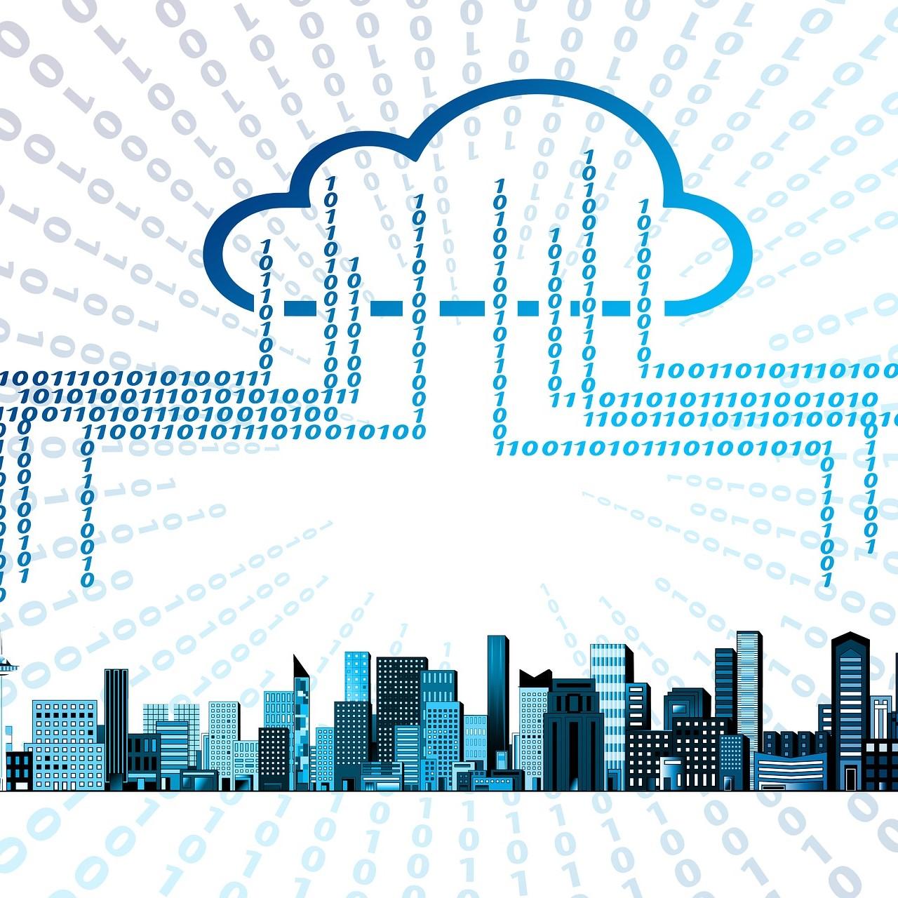 Illustration représentant une ville placée sous le cloud