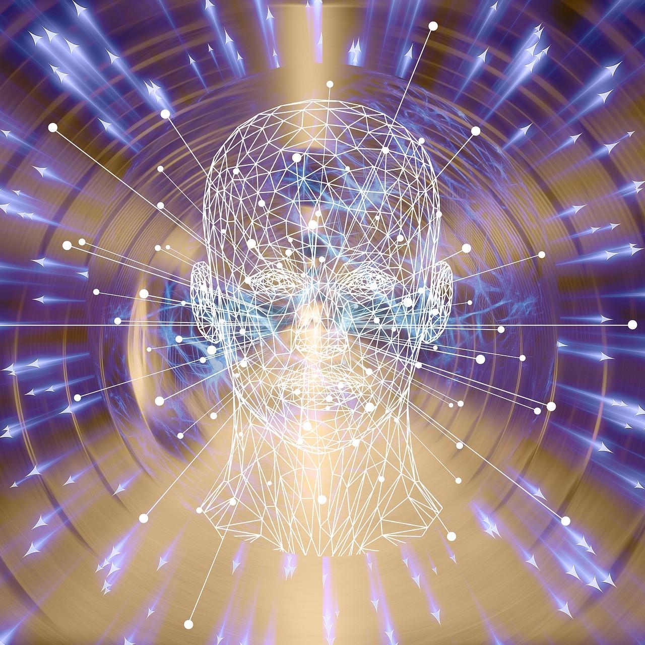 Image représentant une visage humain en transparence, traversé de flux lumineux