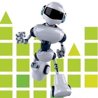 Image montrant un robot dans un mouvement de course, sur fond de ville en cube verts
