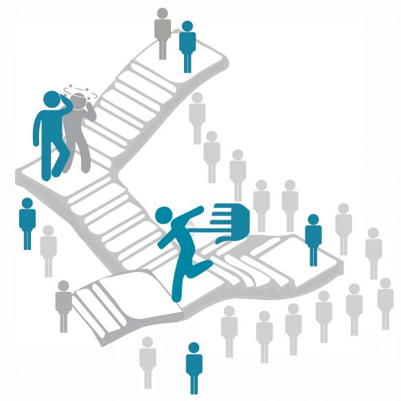 Illustration montrant des personnages gravissant un escalier en colimaçon