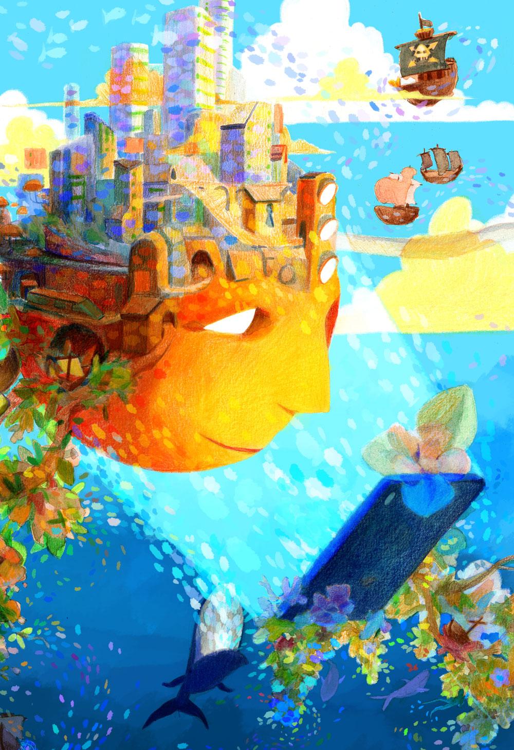 Illustration de Charlotte Rousselle représentant un visage regardant un téléphone dans une ambiance maritime