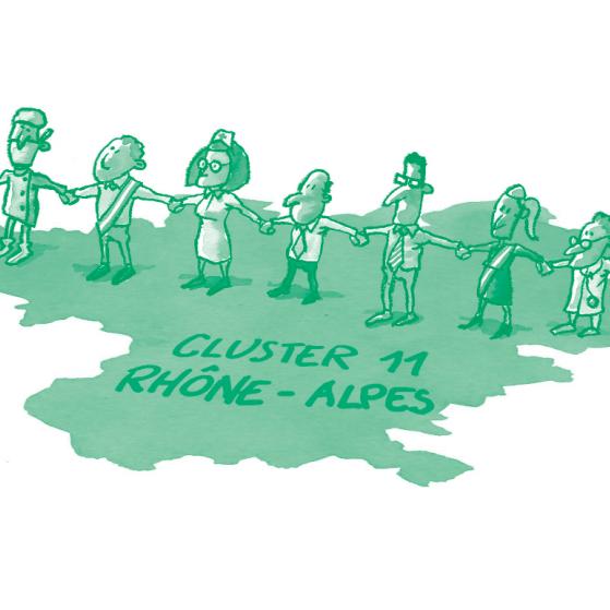 """Illustration d'une chaîne de personnes debout sur la région Rhône-Alpes où il est inscrit """"cluster 11"""""""