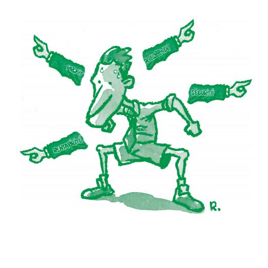 Illustration d'un individu surmené par les questions de rentabilité, profit, développement et sécurité au travail