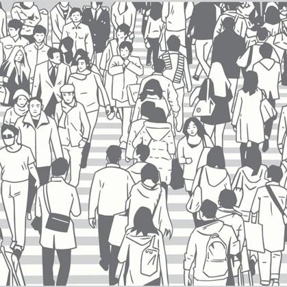 Illustration représentant des individus marchant dans la rue