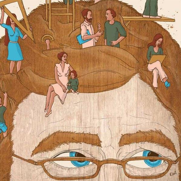 Illustration représentant le haut du visage d'un individu, sur lequel se baladent et vivent d'autres individus miniatures