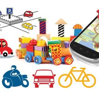 Illustration représentant différents modes de déplacement (voiture, vélo, moto, etc)