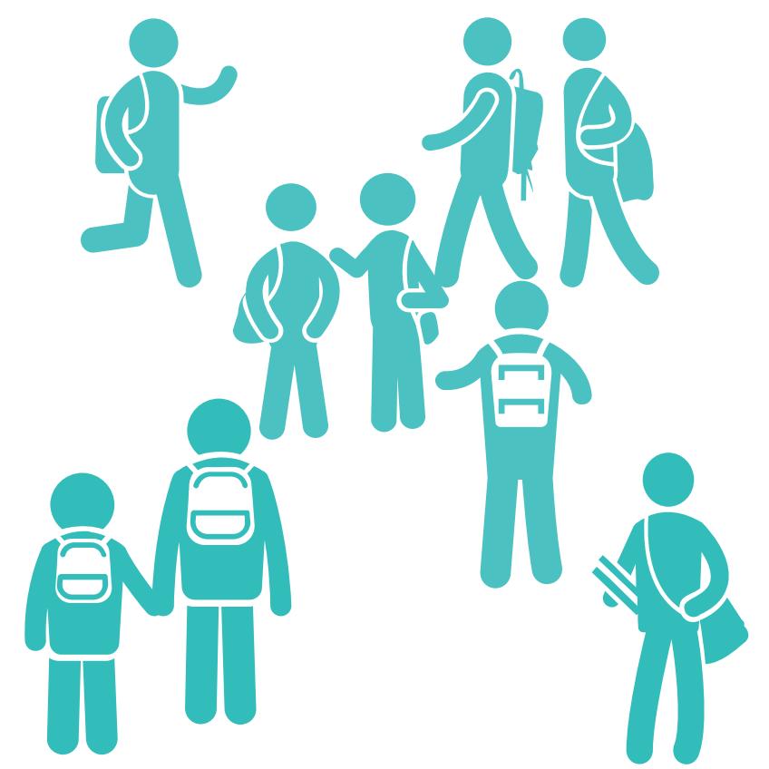 Illustration représentant des écoliers