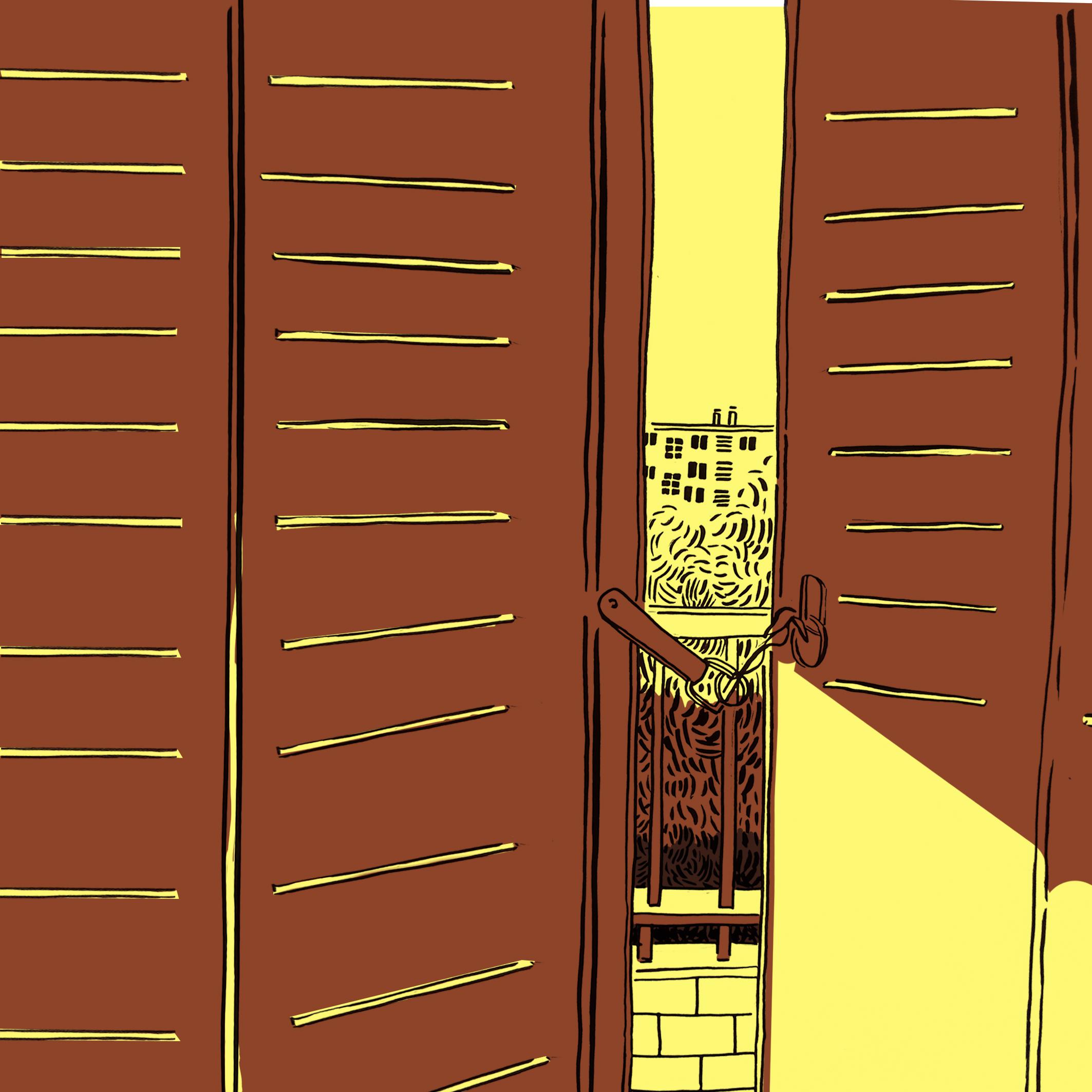 Illustration représentant un volet semi-ouvert donnant sur la ville baignée de soleil et de chaleur
