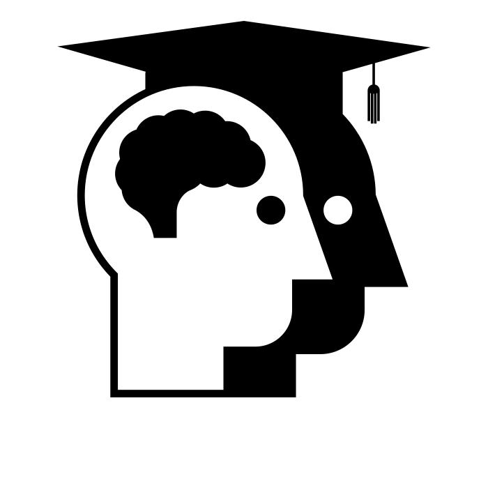 Illustration représentant un visage d'un personne diplômée (chapeau) et un visage où le cerveau est mis en valeur