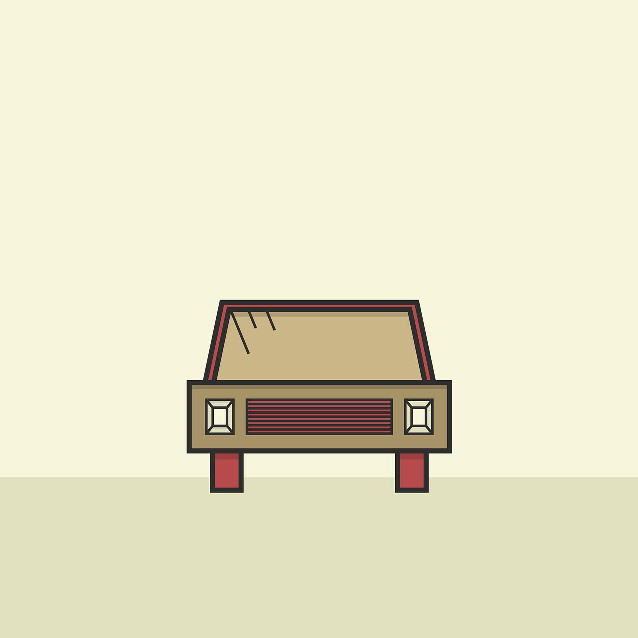 Illustration minimaliste d'une automobile