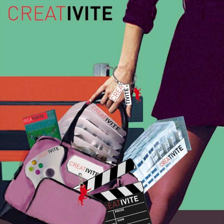 """Illustration représentant un sac rempli d'articles étiquetés """"Créativité"""""""