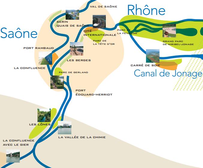 Extrait d'un carte représentant les fleuves de la métropole lyonaise