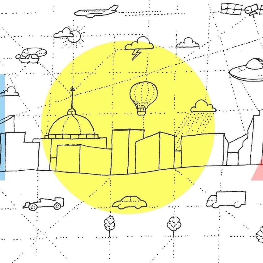 Illustration représentant une ville autour de laquelle gravitent de nombreux moyens de transports (montgolfières, voitures, camions, hélicoptères, avions, soucoupes volantes, etc.)