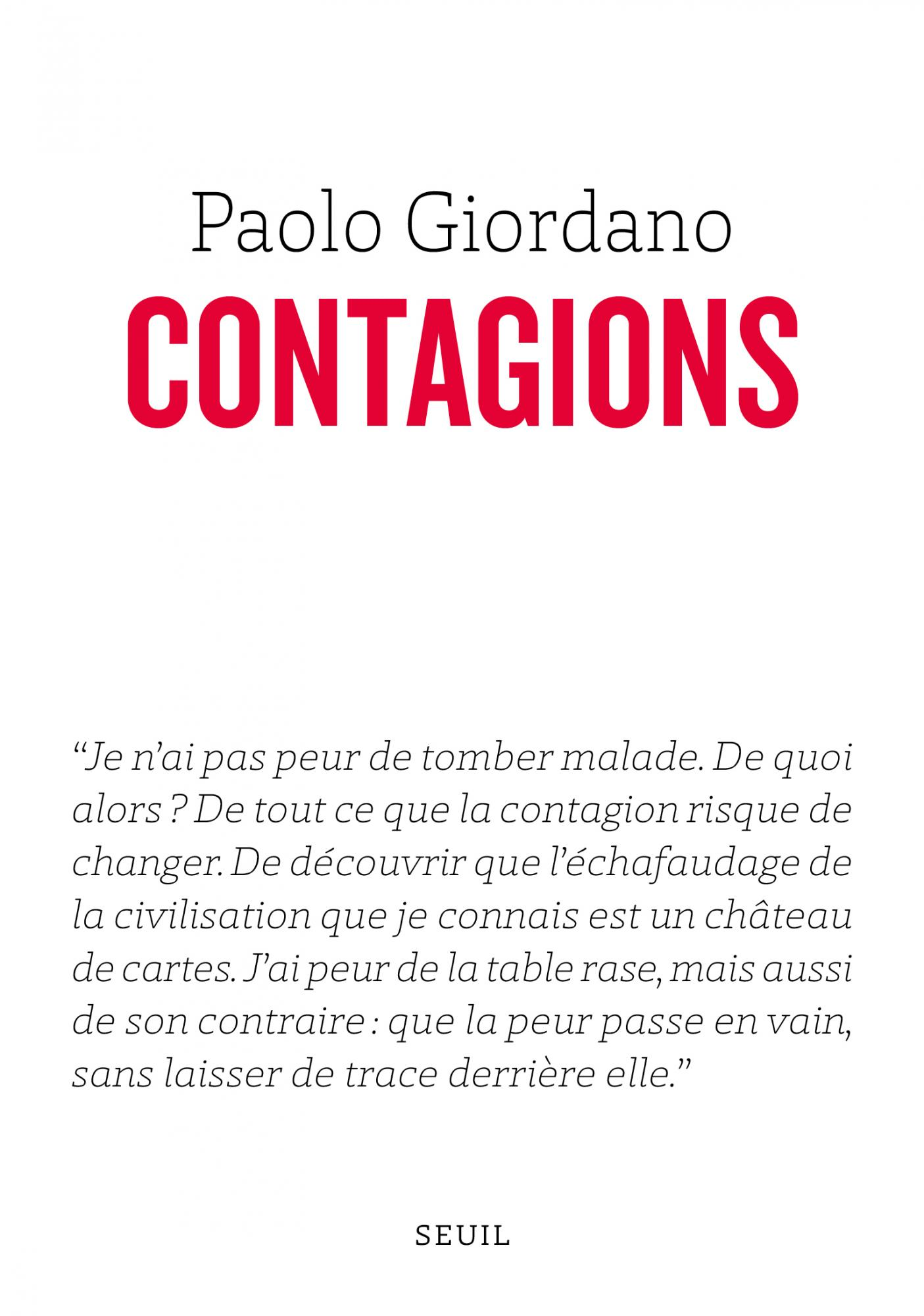 Couverture de l'ouvrage Contagions de Paolo Giordano