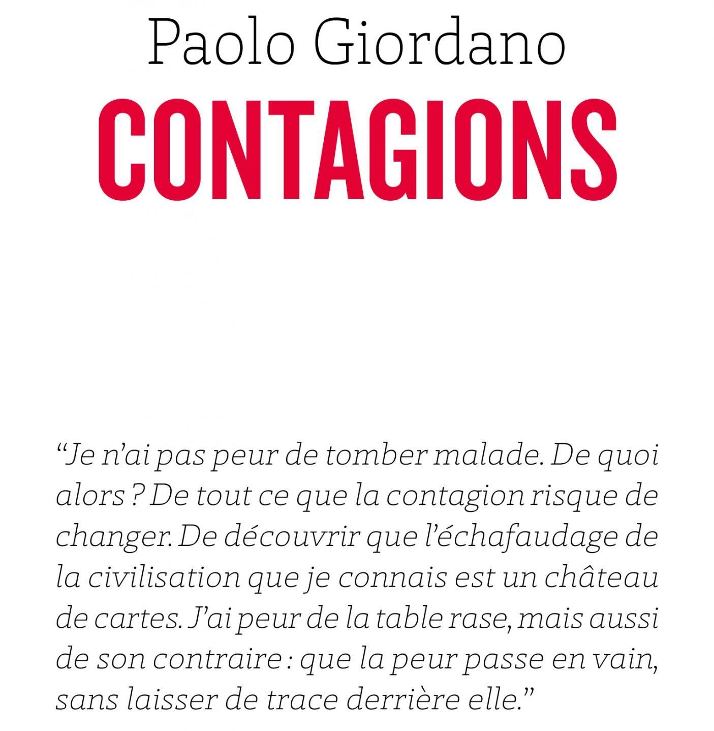 Extrait de la couverture de l'ouvrage Contagions de Paolo Giordano