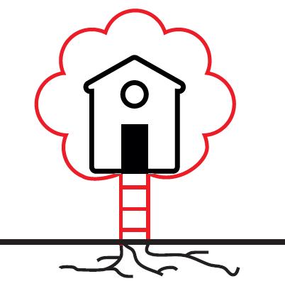 Représentation d'une maison dans un arbre