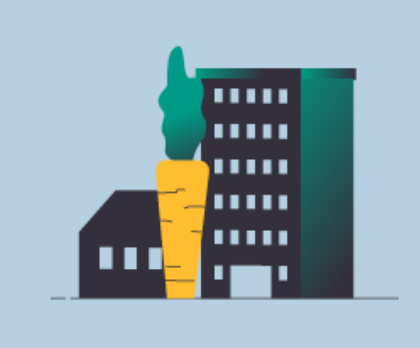 Illustration de 2 bâtiments et d'une carotte