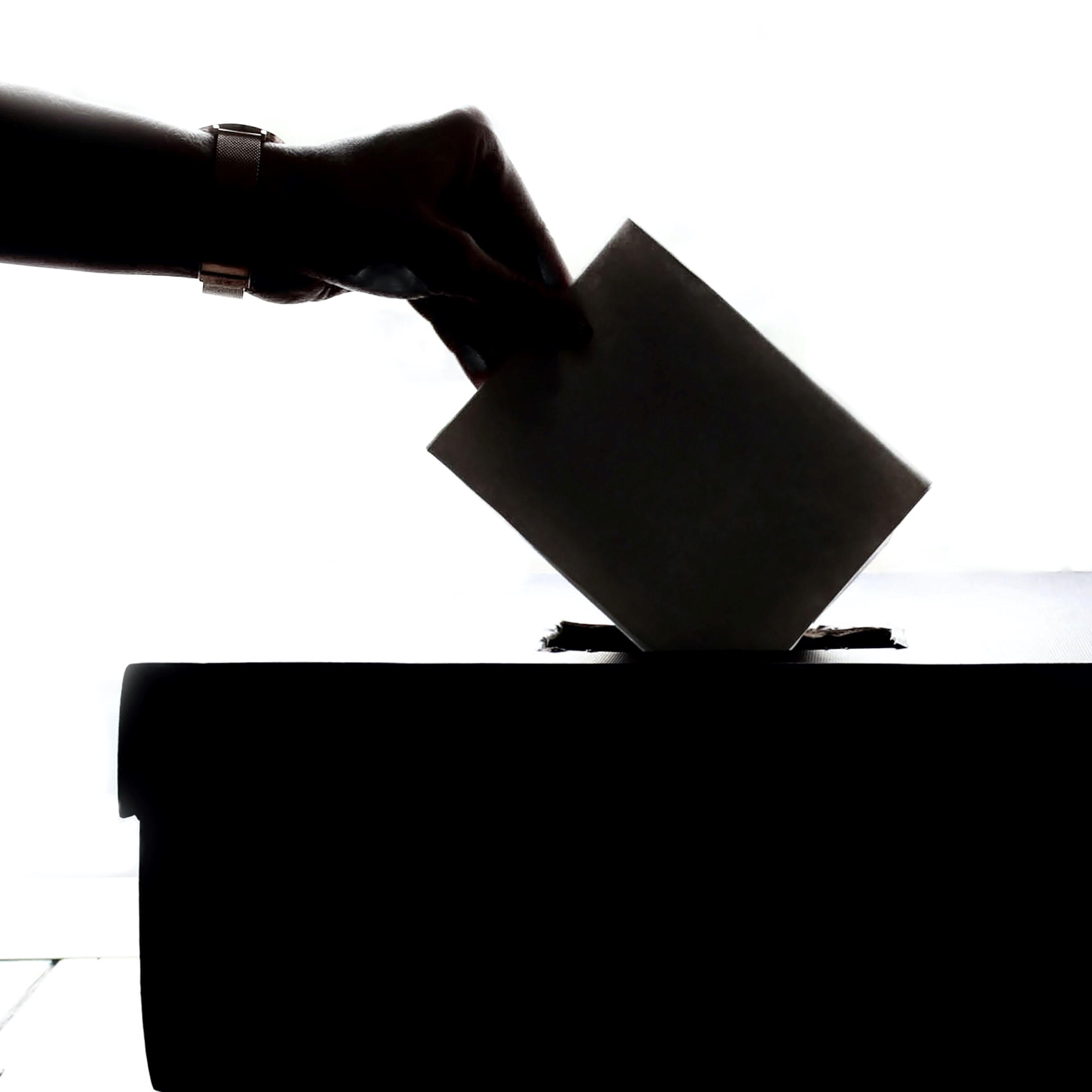 Image représentant la main d'un individu déposant un bulletin de vote dans une urne
