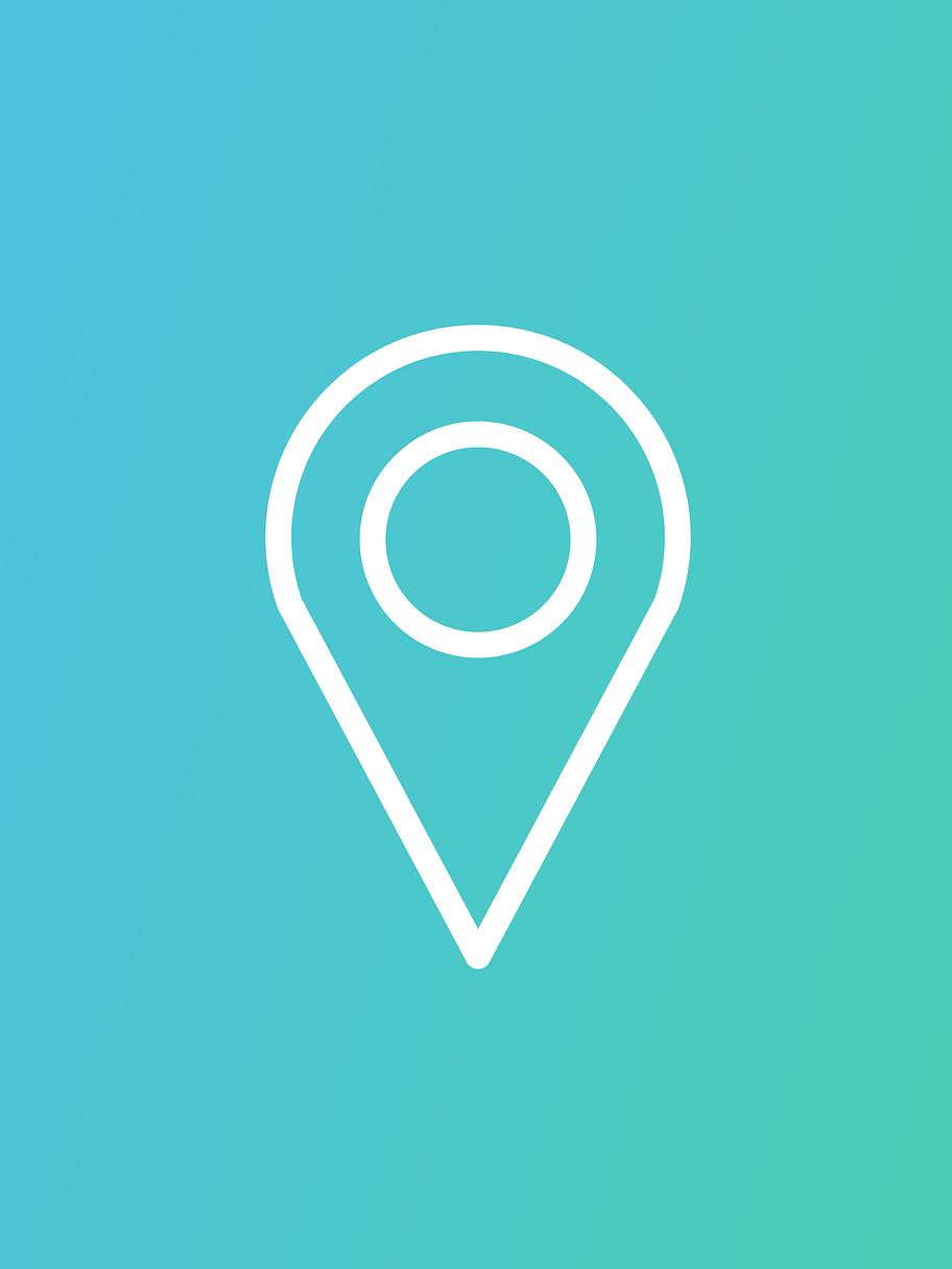 Logo de localisation blanc sur fond bleu