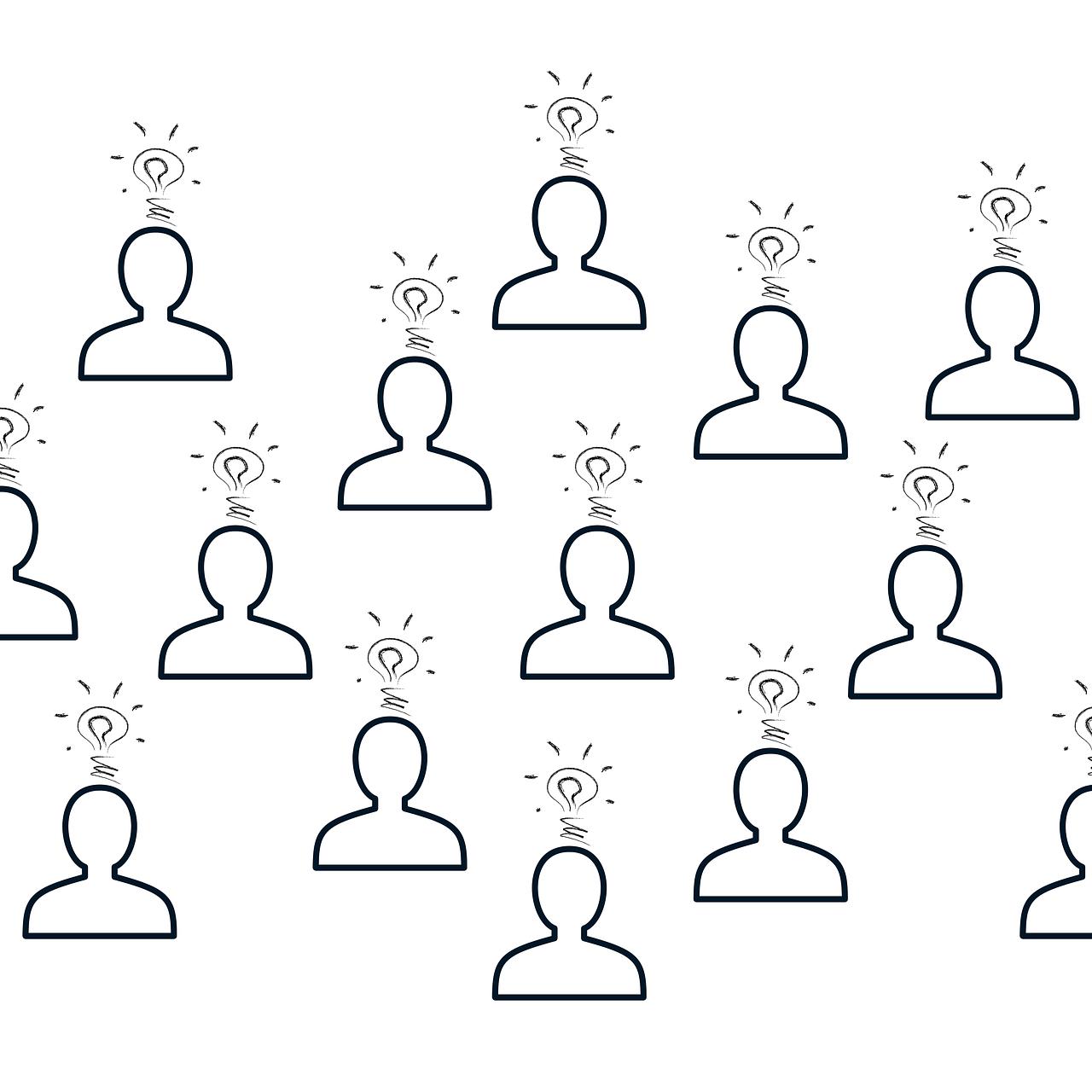 Illustration représentant un ensemble d'individus ayant des idées.
