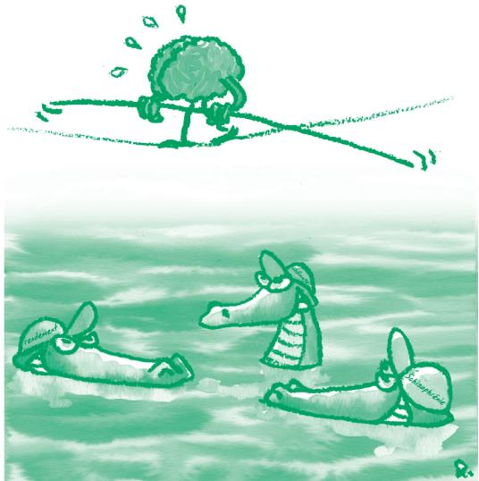 Illustration représentant un cerveau funambule au-dessus d'une rivière de crocodiles