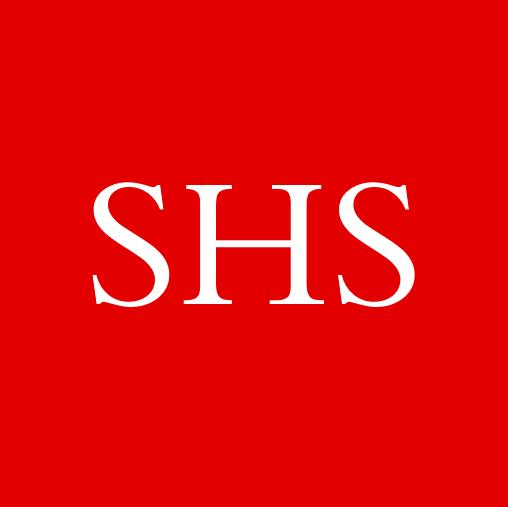 """Ecriture """"SHS"""" blanche sur fond rouge, couleur Métropole de Lyon"""