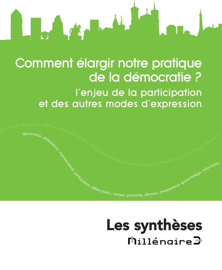 """Couverture de la synthèse : """"Comment élargir notre pratique de la démocratie ?"""""""