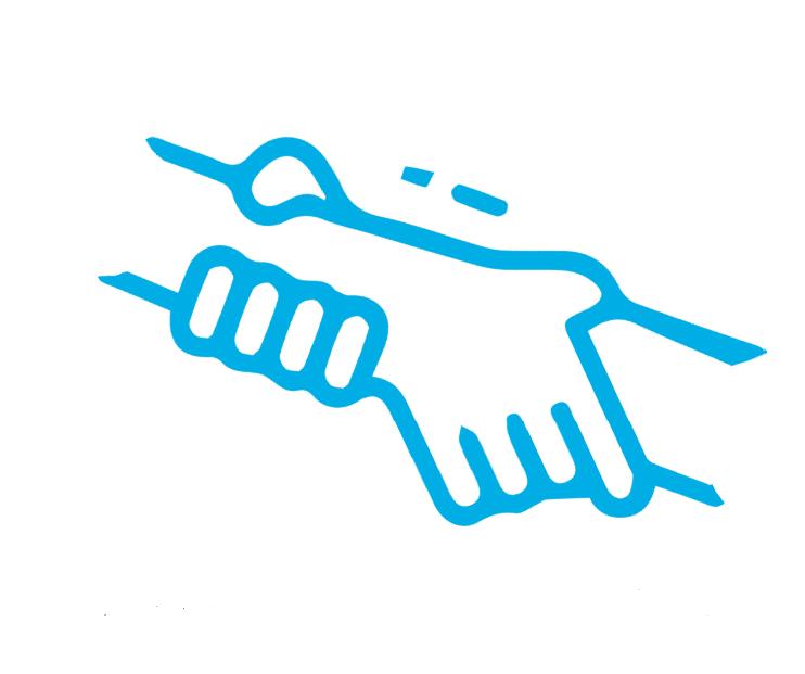Illustration de deux mains se tenant