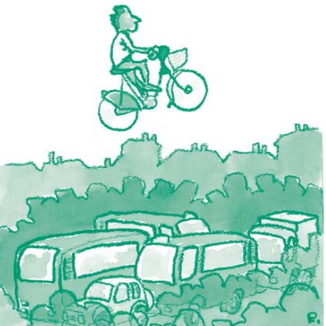 Illustration représentant un individu à vélo passant au-delà du traffic automobile