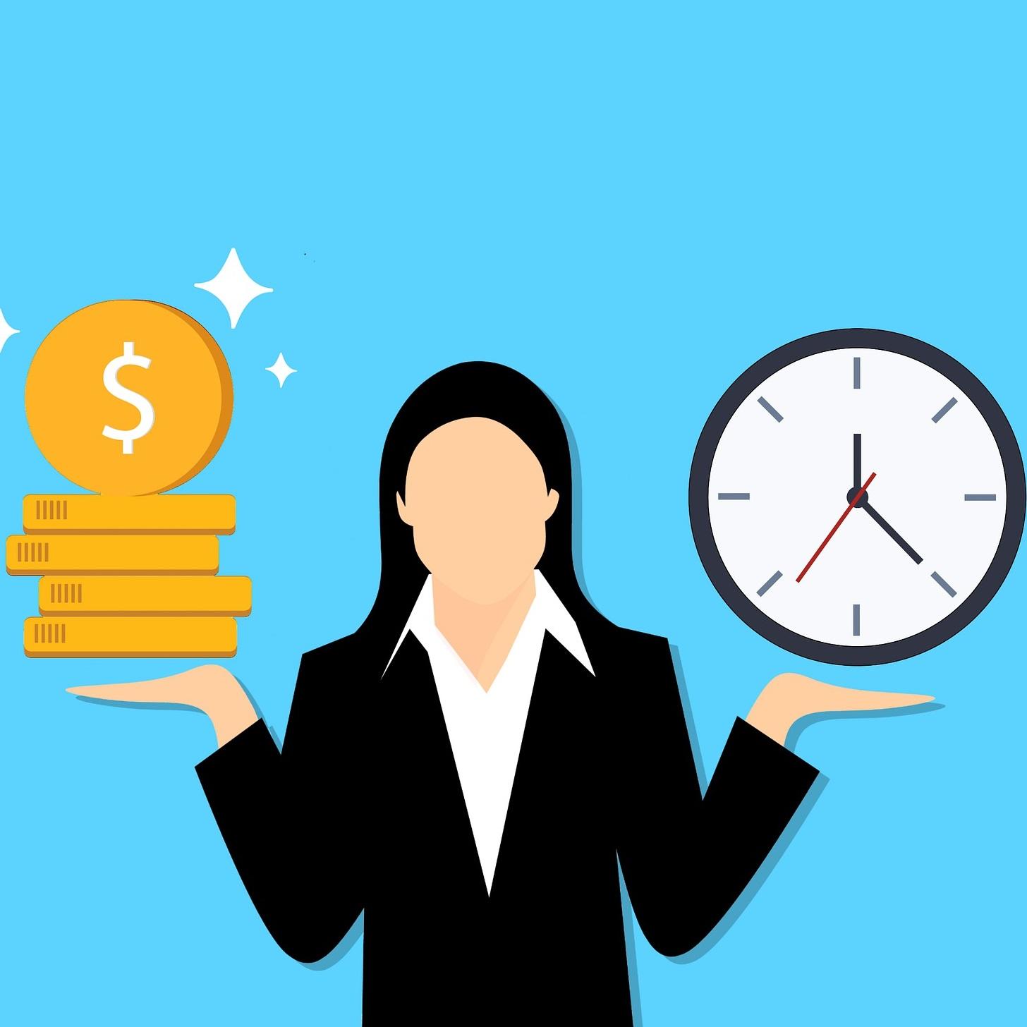 Illustration représentant un individu pesant argent contre temps