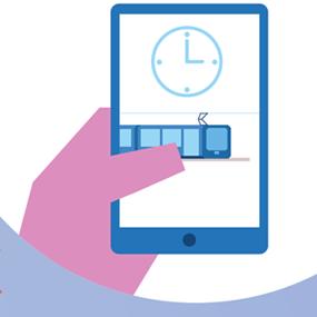 Illustration représentant un individu consultant les horaires du tramway sur son smartphone