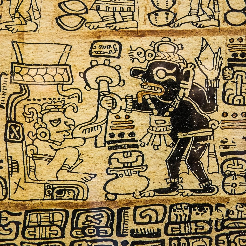 Illustration représentant une gravure présentant un rituel aztèque