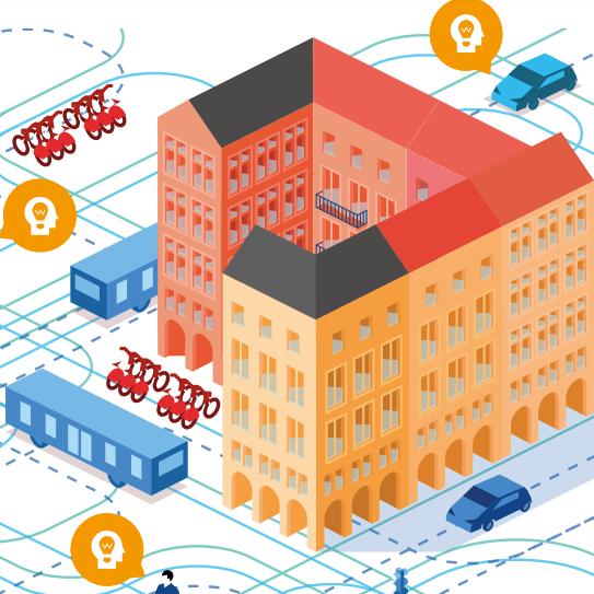 Illustration représentant un ville connectée