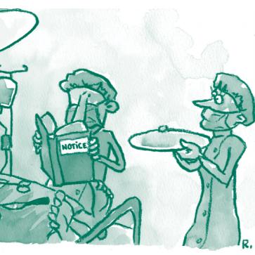Illustration représentant un chirurgien lisant une notice, un infirmier à ses côtés lui tend un plateau vide, le visage interrogatif