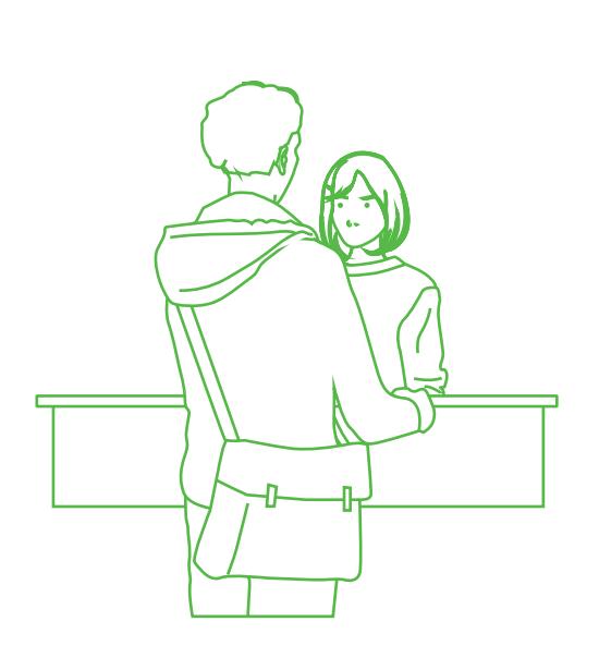 Illustration d'une personne énervée à un guichet