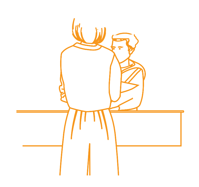 Illustration d'une personne au guichet