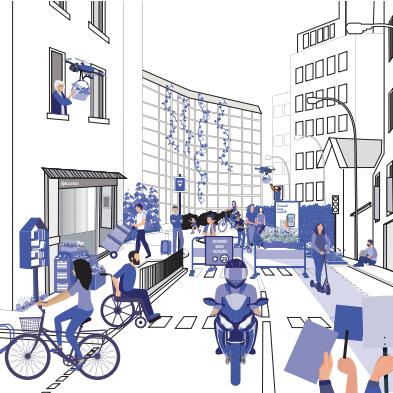 Illustration d'une rue avec plusieurs usages et mobilités