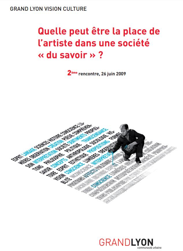 """Couverture de l'étude """"Quelle peut être la place de l'artiste dans une société """"du savoir"""" ?"""""""