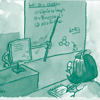 Illustration représentant un docteur prenant des cours donnés par un ordinateur