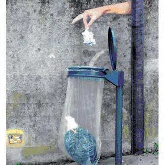 Illustration représentant un individu jetant un déchet dans une poubelle