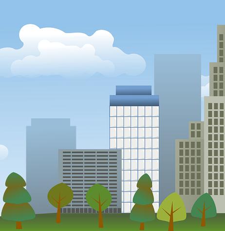 Illustration représentant une ville avec espaces verts en premier plan