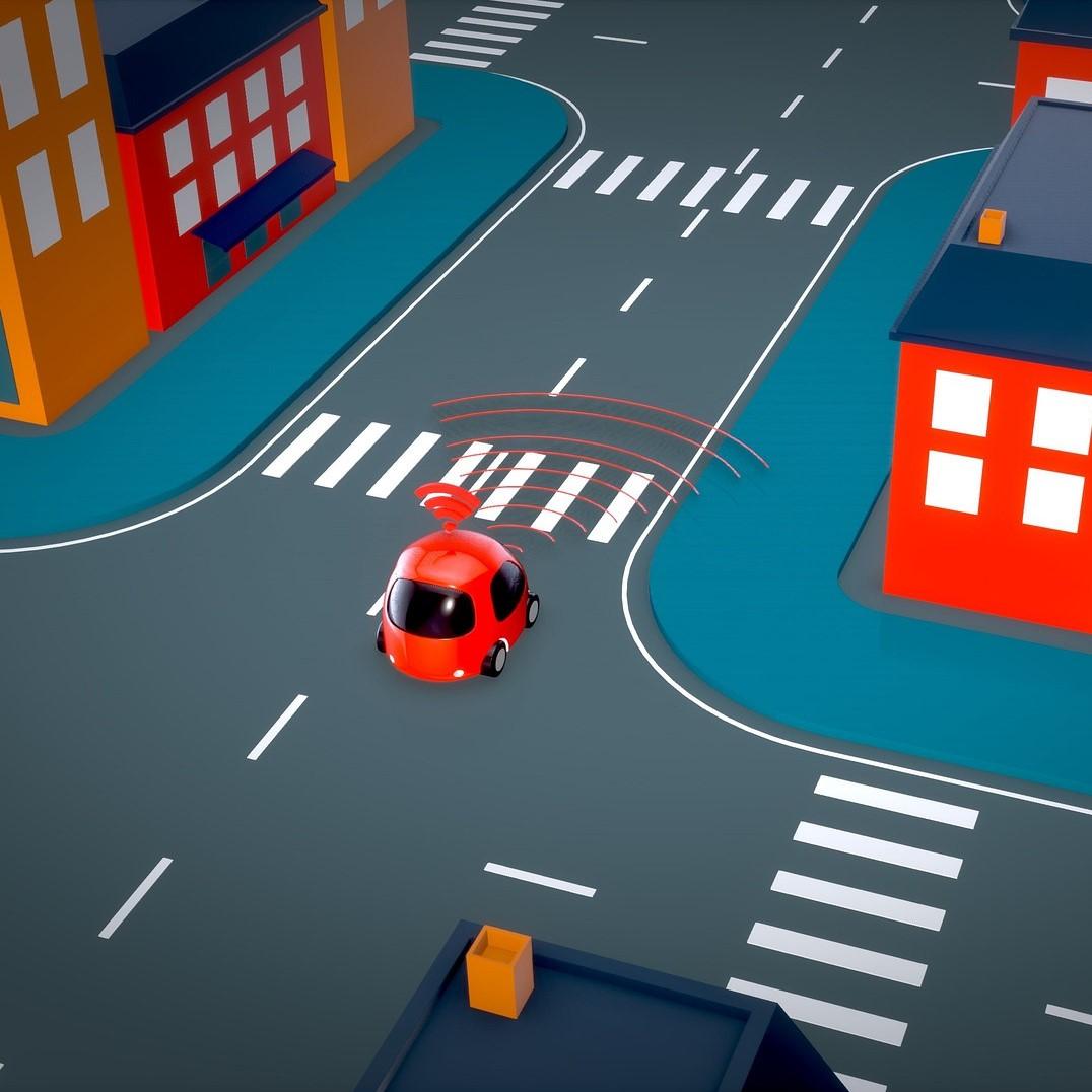 Illustration représentant une voiture automatique dont les capteurs détectent les mouvements alentours