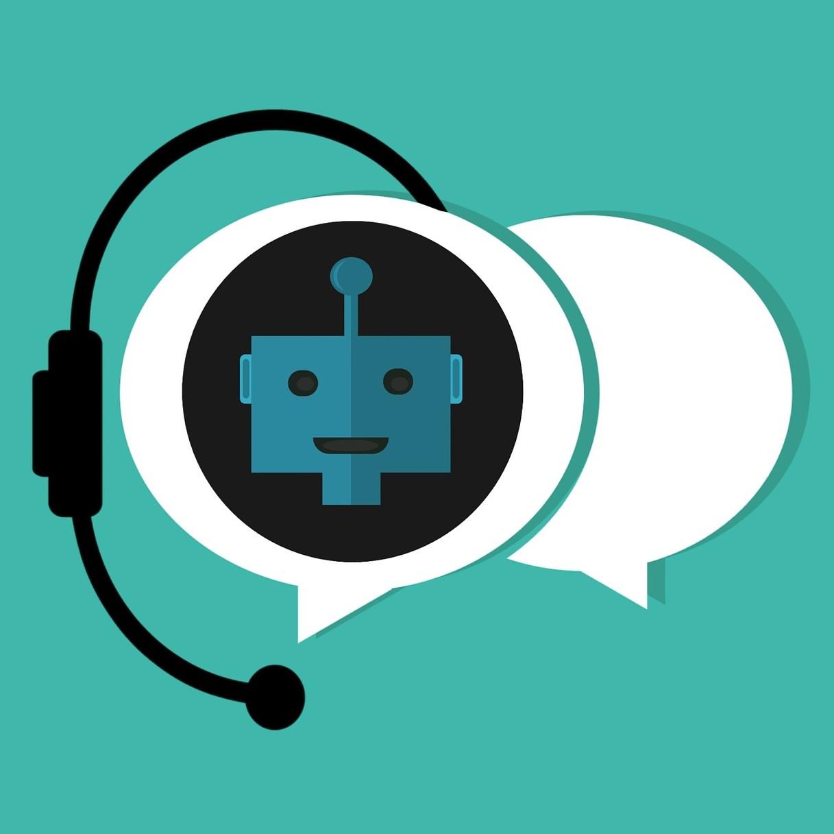 Illustration représentant des bulles de conversation avec dans l'une d'elle un robot.