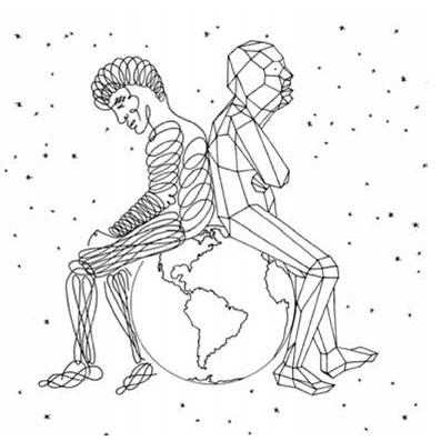 Illustration représentant deux individus assis sur la planète Terre