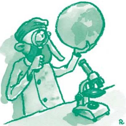 Illustration d'un scientifique observant un globe terrestre à l'aide d'une loupe