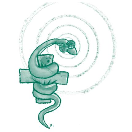 Illustration représentant le serpent, symbole de la médecine, hypnotisé